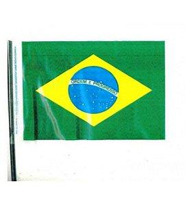 Bandeira do Brasil Plástica com cabo c/10 unid