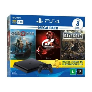 CONSOLE PLAYSTATION 4 1TB MEGA PACK 12 - GOD OF WAR, GRAN TURISMO, DAYS GONE