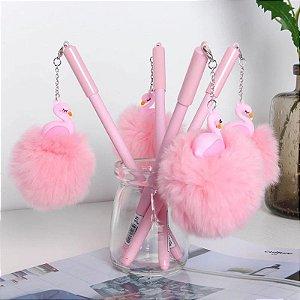 Caneta Pingente de Flamingo com Pompom