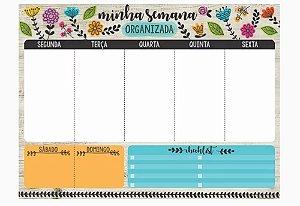 Bloco Planner Semanal Flores