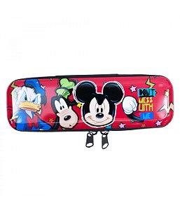 Estojo Mickey Metal Vermelho Sorrisão  Disney