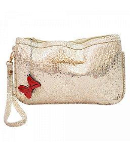 Bolsa Mão Dourada Brilhante Minnie Disney