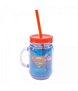 Liga Da Justiça Caneca De Plástico Com Canudo Superman 420ml