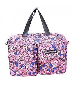 Bolsa Dobrável De Viagem Florido Rosa Mickey Mouse Disney