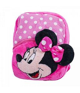 Mochila Infantil Rosa Minnie Mouse Pelúcia Disney