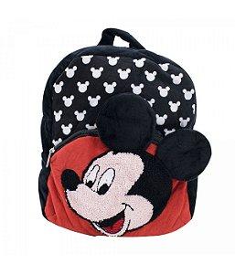 Mochila Infantil Preto Mickey Pelúcia - Disney