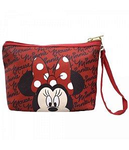Necessaire Vermelho Rosto Minnie  Mouse Disney