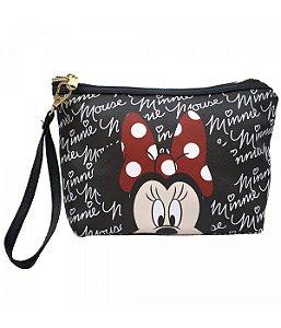 Necessaire Preta Rosto Minnie Mouse Disney