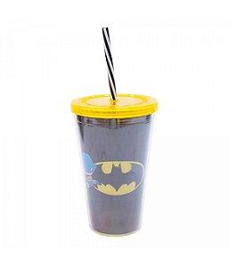 Copo Com Canudo Batman 450ml Liga Da Justiça