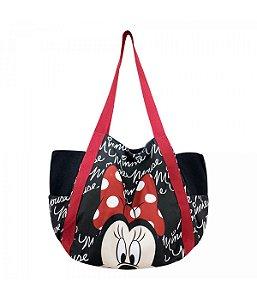 Bolsa Preta  Rosto Minnie Mouse - Disney