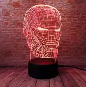 Luminária de led 5 cores homem de ferro com controle remoto