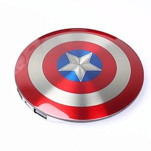Carregador Portátil escudo capitão América 6800 mah 2 entradas USB