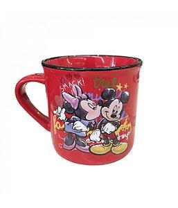 Caneca de Porcelana Vermelha Minnie & Mickey Beijando - Disney 280ml