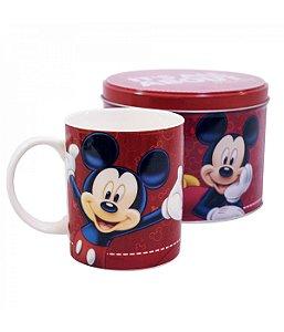 Caneca de Porcelana na Lata Vermelha Mickey Mouse Disney 350ml