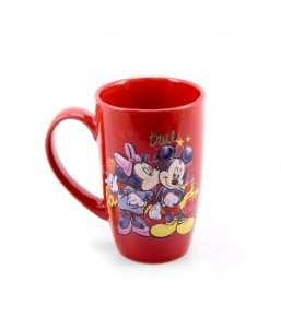 Caneca Porcelana Vermelha Mickey Mouse & Minnie Mouse Disney 400ml