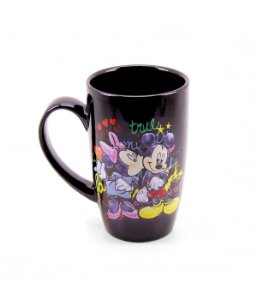 Caneca Porcelana Preta Mickey Mouse & Minnie Mouse Disney 400ml
