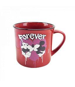 Caneca De Porcelana Vermelha Mickey Mouse & Minnie Mouse True Love Forever  Disney 280ml