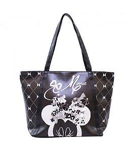 Bolsa Minnie Mouse preta com zíper charmosa