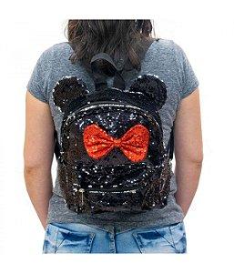 Mochila Minnie laço lantejoulas Disney