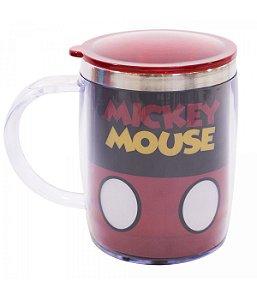 Caneca Termica Preta E Vermelha Mickey Disney com tampa
