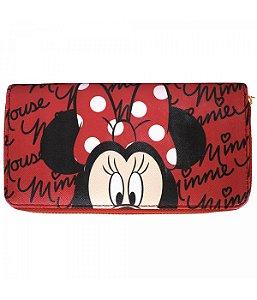 Carteira Minnie Mouse vermelha couro ecológico