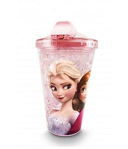 Copo Rosa Com Canudo E Tampa Gel Congelante Anna & Elsa Frozen 450ml  Disney