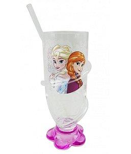 Copo Rosa Com Canudo Anna & Elsa Frozen 200ml  Disney