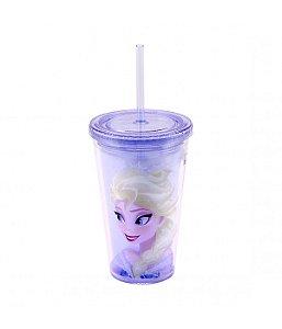 Copo Com Canudo Elsa 450ml Frozen Disney
