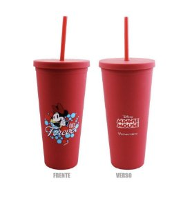 Copo Canudo Emborrachado Minnie Mouse 650ml Disney