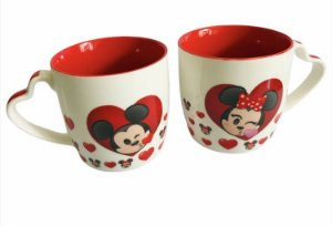 Kit de canecas Mickey e Minnie cerâmica Disney emoji