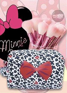 Necessaire Minnie Mouse Laço preto com branco