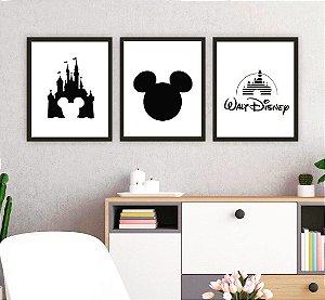 Kit quadro decorativo Mickey Mouse Castelo 3 peças
