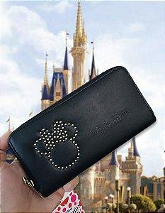 Carteira Minnie Mouse Disney preta couro ecológico
