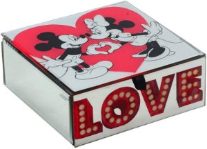 Porta Joia espelhado Minnie Mouse e Mickey Mouse Love Disney