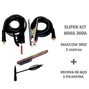 Kit Cabos Garra + Porta Eletrodo 300A - 9mm + Kit Limpeza