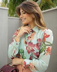 Camisa Floral Com Renda Na Gola Doce Flor