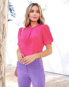 Blusa Em Crepe Botão Pérola Donna Ritz - Pink