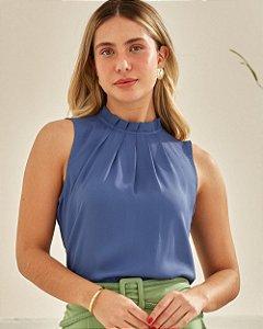 Blusa Crepe Regata Pregas Unique Chic - Azul