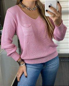 Blusa Tricot Decote V Rosa