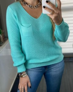 Blusa Tricot Decote V Tiffany