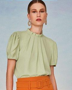 Blusa Crepe Gola Pregas Unique Chic - Verde