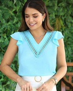 Blusa Decote V Detalhe Renda Doce Flor Azul