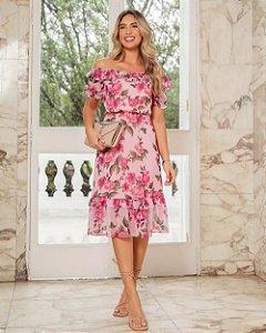 Vestido Midi Floral Doce Flor - Rose