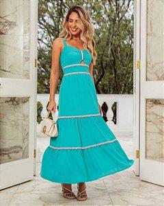 Vestido Crepe Com Lastex Pura Emoção Azul Tiffany