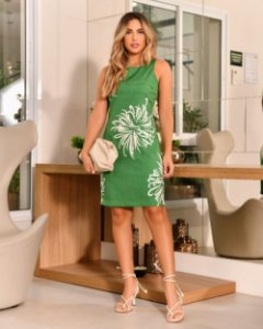 Vestido Curto Floral Verde Pura Emoção