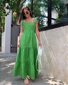 Vestido Longo Algodão Maquinetado Unique Chic Verde