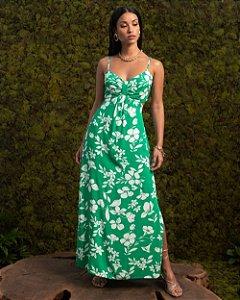 Vestido Midi Floral Com Lastex E Fenda Aramodu