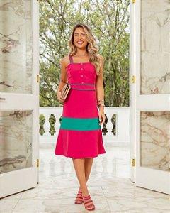 Vestido Midi Bicolor Pura Emoção Pink
