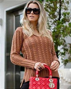 Blusa Tricot Decote V Trança