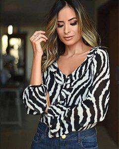 Blusa Animal Print Zebra Jabot